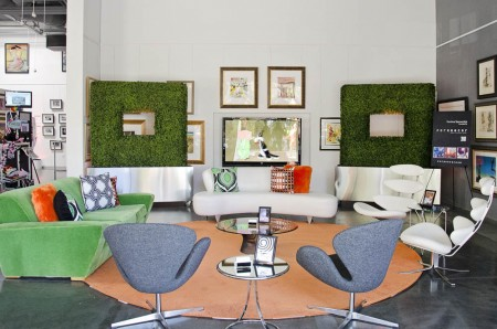 The colorful lounge featuring FormDecor's Vanguard Sofa, Accent Circle Rug, Boxwood Hedge, and more were inspired by one of Bug's Bunny's carrots.