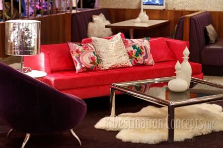 purple genoa chair and pink dunbar sofa