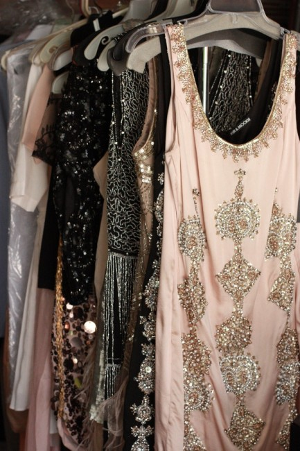 Flapper dresses with deco embellishments and soft colors are the perfect for a cocktail party, or as bridesmaids dresses.