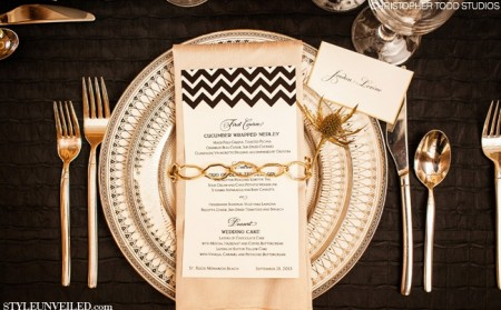 Chevron patterns with gold and pale pink hues are a delightful Gatsby table setting!