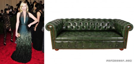 Kirstin Dunst wore a stunning green feathered dress by Louis Vuitton. We think it would go well with FormDecor's Chesterfield Sofa in Green!