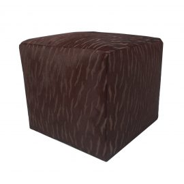 Cube Cowhide Ottoman in Brown