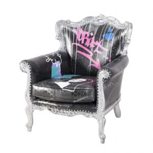 C10543-00 Graffiti Lounge Chair Rental (Drift) Front Angle