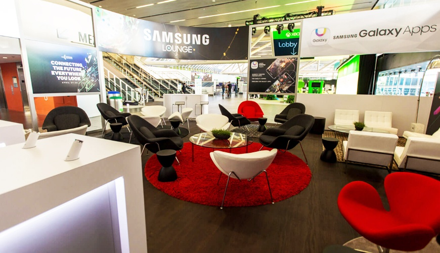 Samsung Lounge for Game Developers Conference trade show furniture rental 1