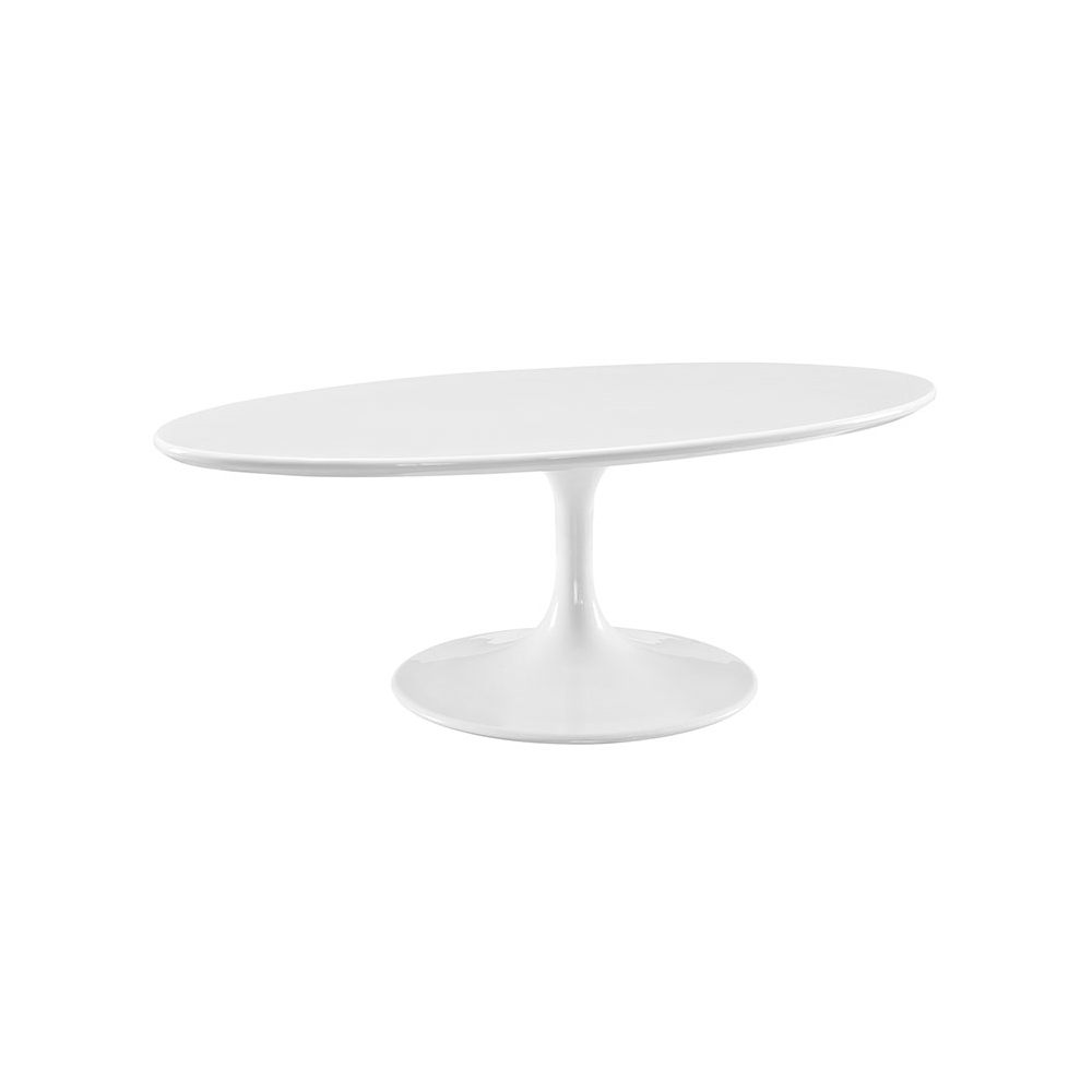 Oval Tulip Coffee Table: Saarinen Tulip Oval Coffee Table (White/White)